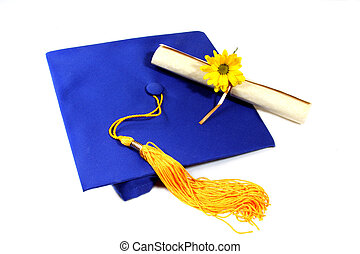 isolated graduation cap with diploma and flower