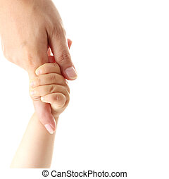 Isolated mother hand holding baby hand