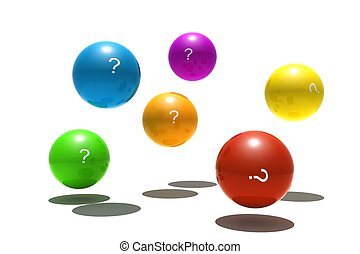 isolated spheres with question-mark symbol