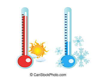 isolated two thermometer in hot and cold temperature