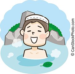 Japanese men enjoying relaxing traditional hot spring onsen bath on vacation