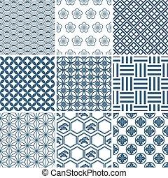 Japanese traditional pattern set. Illustration vector.