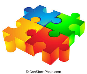 Jigsaw puzzle: 3d icon isolated on white