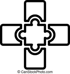 Jigsaw combination icon, outline style