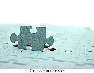 Jigsaw Focus on Upright piece Shallow DOF