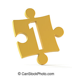 Jigsaw font 3d rendering, puzzle piece number 1