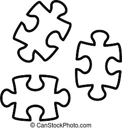 Jigsaw icon, outline style