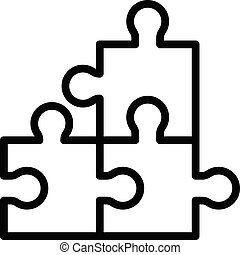Jigsaw match icon, outline style