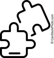 Jigsaw part icon, outline style