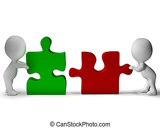 Jigsaw Pieces Being Joined Showing Teamwork And Collaboration
