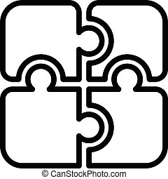Jigsaw pieces icon, outline style