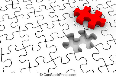White jigsaw puzzle with last piece in red color. Image concept and part of a series.