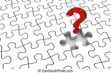 White jigsaw puzzle with missing piece. Image concept and part of a series.
