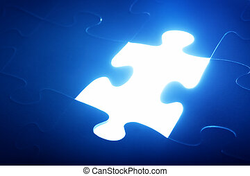 Jigsaw puzzle piece missing. Light glowing. Solution, solve the problem.