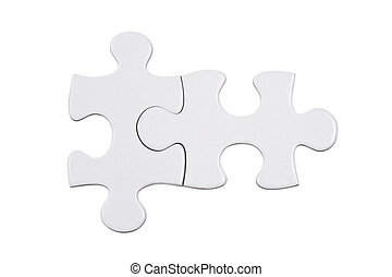 Jigsaw puzzle piece on white background, high angle view