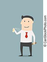 Joyful businessman spraying cologne or deodorant