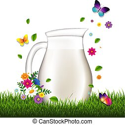 Jug With Milk And Grass And Flowers White Background