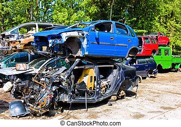 junkyard, broken cars