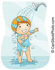 A Young Boy Taking a Shower