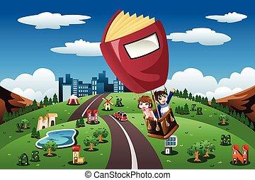 Kids riding in a hot air balloon