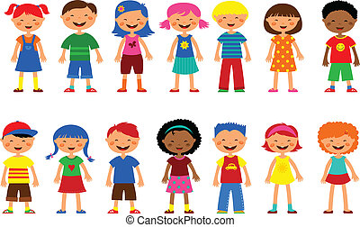 set of cute kids illustrations , happy children and colorful flowers