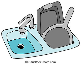 An image of a kitchen sink with pans.