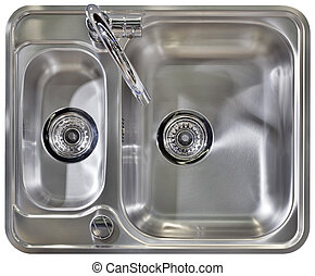 Stainless Water Tap and Wash Sinks Isolated with Clipping path