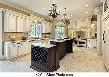Kitchen in new construction home with double deck island