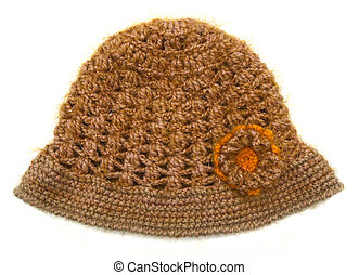 knitted wool hat isolated on white