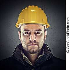 portrait of caucasian labor and grunge background