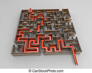3d illustration of clever strategy (metaphor with the graph and the labyrinth)