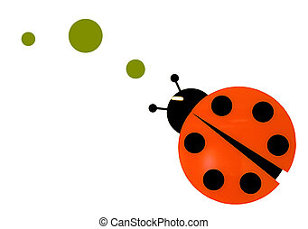 Isolated lady bug following a trail of green dots