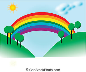landscape with fields and rainbow