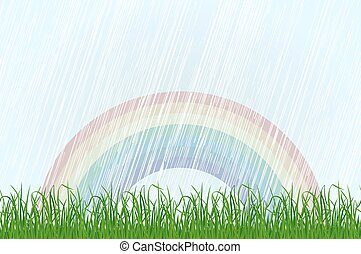 Landscape with grass and rainbow. Vector