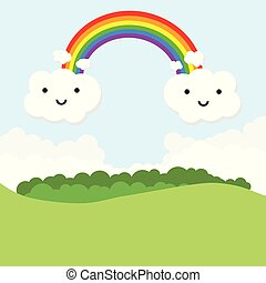 Landscape with rainbow and funny clouds. Vector illustration