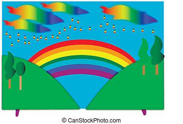 Landscape with rainbow. art illustration.