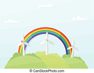 landscape with windmills and rainbow