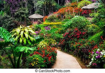 Landscaped colorful flower garden in blossom