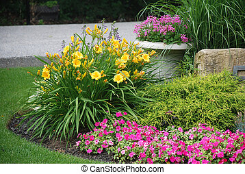 Landscaped garden with flowers and plants