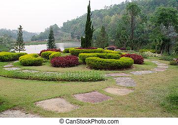 Landscaped Formal Garden. Park.