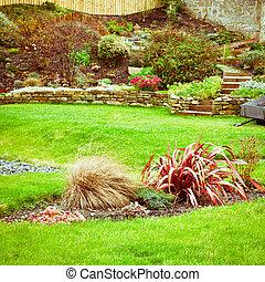 A beautiful landscaped terraced garden in the UK
