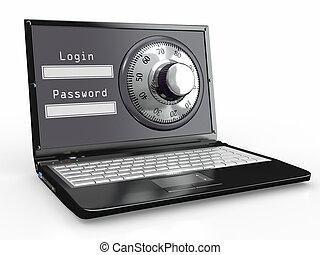 Laptop with steel security lock. Password