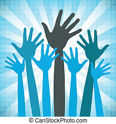 Large group of happy hands design with a textured background.