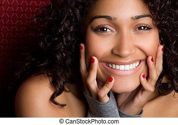 Beautiful playful laughing black woman