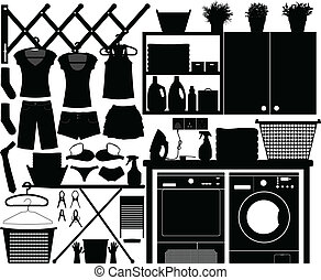 A big set of laundry equipment for home interior.
