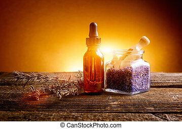 Lavender essential oil on desk