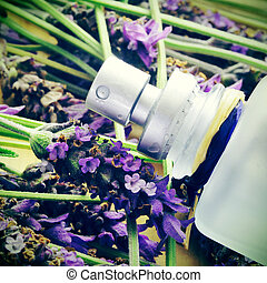 a bottle of lavender cologne on a pile of lavender flowers