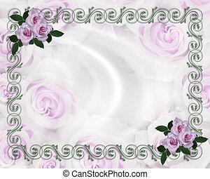 Lavender roses wedding invitation