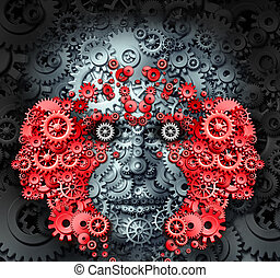 Leadership and learning business and education concept with a group of human heads made from gears and cog wheels as a metaphor for creative innovative vision to learn and lead an organization to success.