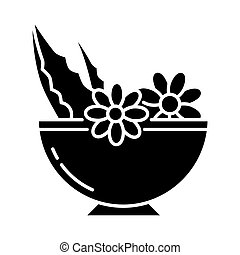 Leaves in bowl black glyph icon. Medicinal herbs and flowers in mortar. Botanical ingredients for organic cosmetology. Natural skincare. Silhouette symbol on white space. Vector isolated illustration